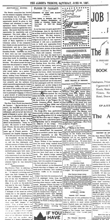 <q>Floods in Calgary<q> <em>The Daily Herald</em>, June 19, 1897