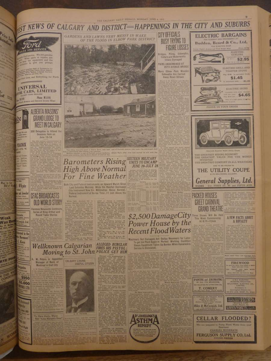 <q>Gardens & lawns very messy in the wake of flood</q> <em>Calgary Daily Herald</em> June 4, 1923