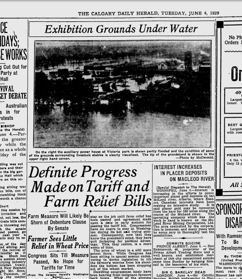 <q>Exhibition Grounds Under Water</q> <em>Calgary Daily Herald</em>, June 4, 1929
