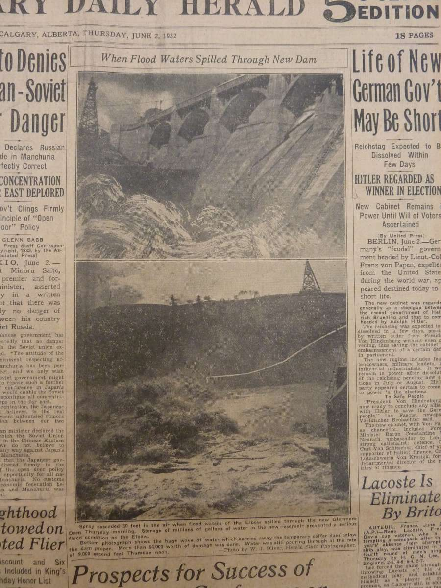 """When floodwaters spilled through new dam"" <em>Calgary Daily Herald</em>, June 2 1932"