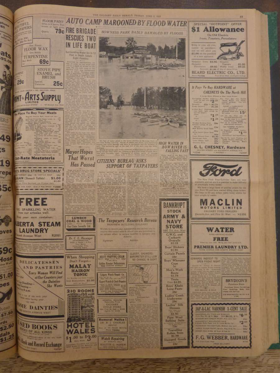 """Auto Camp Marooned by flood water"" <em>Calgary Daily Herald</em>, June 3, 1932"